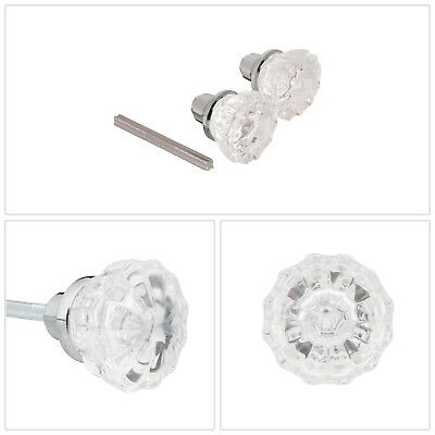 Door Knob Spindle Chrome Glass Steel Flat Ball Residential Doors Hardware New