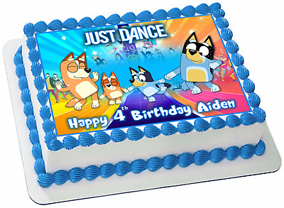Bluey Just Dance Edible Personalized Rectangle Cake Topper Birthday Image #751