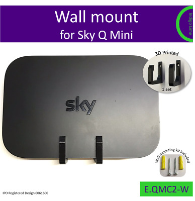Sky Q Mini wall bracket. Holder. Mount - black. Made in the UK by us.