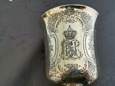 Argent Massif Vermeil Timbale Cadeau Empereur  Napoleon Iii Imperatrice Eugenie