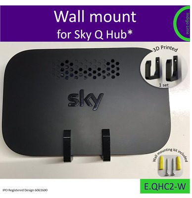 Sky Q Hub wall bracket. Holder. Mount - black. Made in the UK by us.