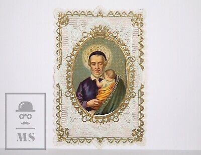 Antique Paper Lace Holy Card - Saint Nicholas ? - Circa 1910