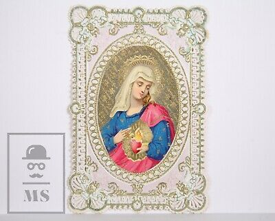 Antique Paper Lace Holy Card - Immaculate Heart of Mary - Circa 1910