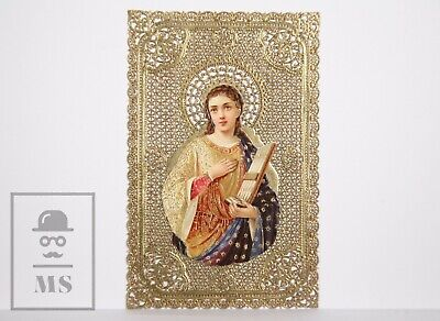 Antique Golden Paper Lace Holy Card - Saint Cecilia - Circa 1910