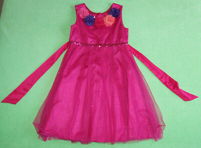 Monsoon dark pink dress with flowers occassion for a girl age 11-12 years 152cm