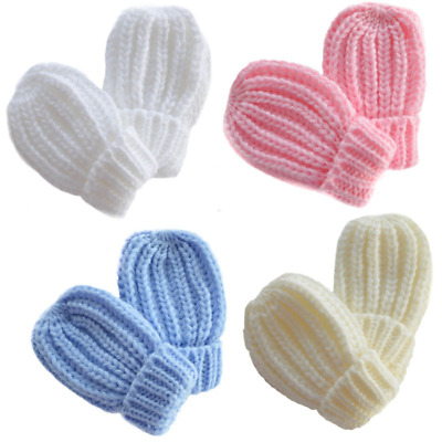 Baby mittens mitts gloves knitted ribbed boy girl