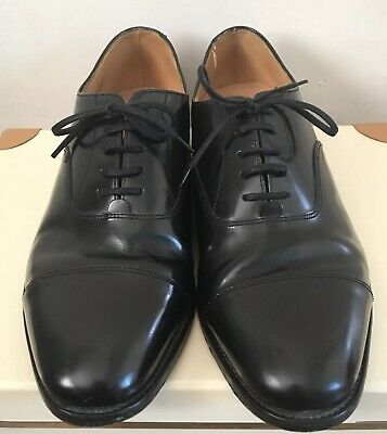 LOAKE L1 200B Oxford Black Polished Leather Laced Shoes Size 9.5 MADE IN ENGLAND