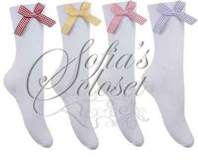 Short Length Girls White Socks With Gingham Check Bow School Uniform Cute Ankle