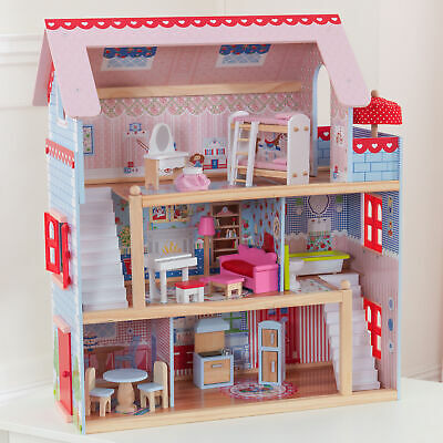 Doll House Cottage Kids Indoor Girl Toy Miniature 16-Pc Play Set 3-Level Wooden