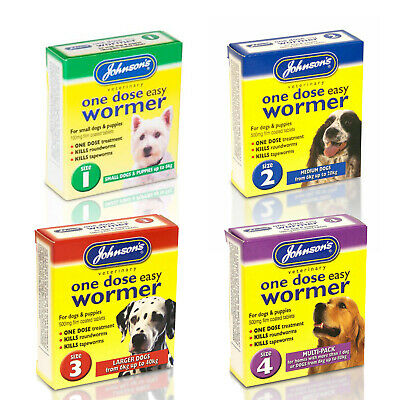 Johnsons One Dose Easy Wormer Dog Worm Worming Tablets Roundworm & Tapeworm