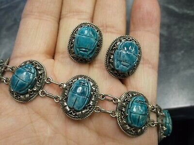 Antique Hallmarks Egyptian Revival Faience Scarabs Coin Silver Bracelet Earrings