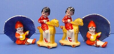 4 Charming Vintage Bisque Cake Decorations 1920/30s Toy Horse Umbrella