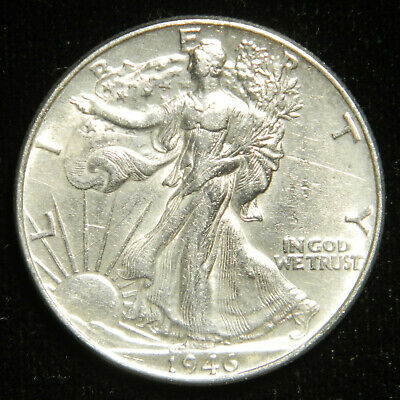 1946 Walking Liberty Half Dollar , AU ABOUT UNCIRCULATED , 90% Silver US Coin