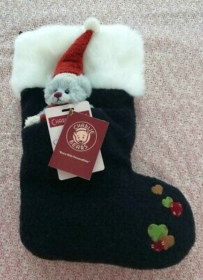 SPECIAL OFFER! Charlie Bears CHRISTMAS EVE BLUE Sock with Miniature Bear RRP £30