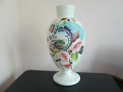 Victorian opaque opaline glass vase with hand-painted floral decoration 12 Inch