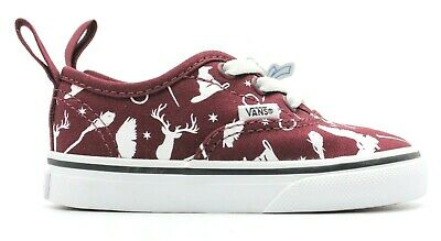 6b5bef6118 VANS AUTHENTIC RED White Elastic (No Laces) Kids Unisex Size 11 to 6 ...