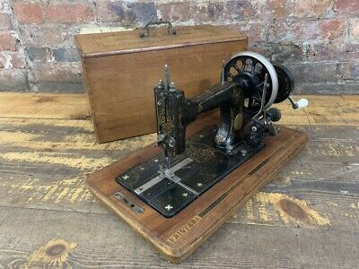 Antique Cast Iron Frister and Rossmann Sewing Machine in Case, made 1899