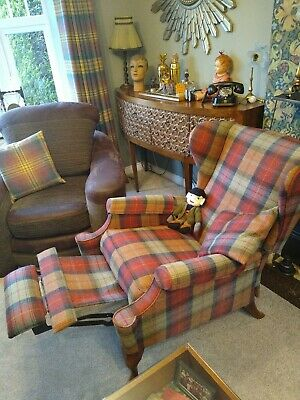 High Backed Winged Reclining Armchair