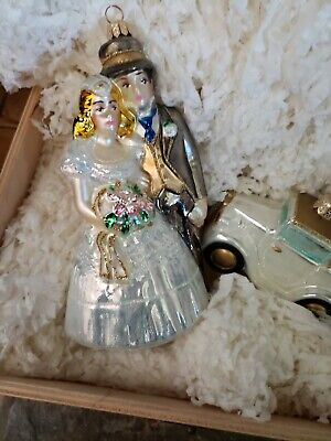 Wedding Bride & Groom + Just Married Old Car glass Ornaments by Polonais w/box