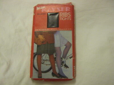 Vintage Retro Teenager's Ribbed Tights Mulberry Kayser