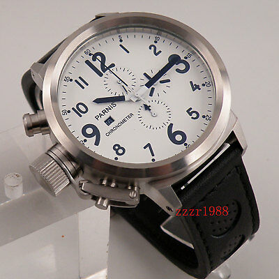 50mm Parnis white dial Big Face mens watch full chronograph leather 548