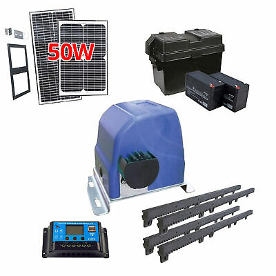 ALEKO Solar Kit Sliding Gear Rack Driven Opener For Gate Up To 30-ft 900-lb