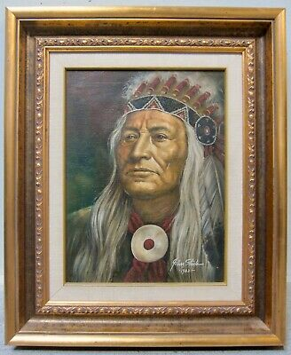 JOHN STEELE Indian Chief Portrait Original Oil Painting Realism Western Signed