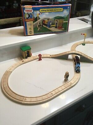 Vintage Thomas Train & Friends Riding the Rails Wooden Railway Starter Set w/Box