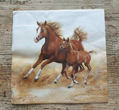 4 x Napkins for decoupage lunch animals horses