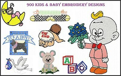900 KIDS and BABY Machine Embroidery Pattern Designs HUS JEF BMP PES
