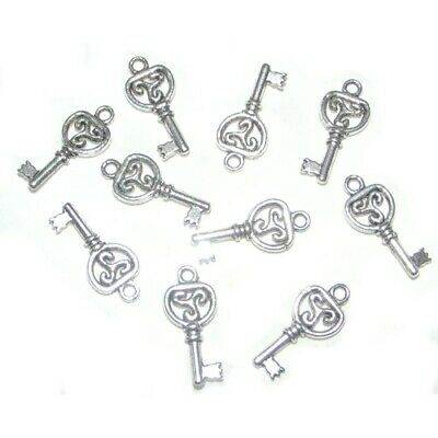 SC4006 20 Key Charms Antique Silver Tone 2 Sided