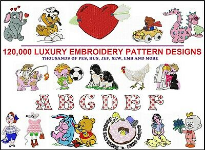 120,000 Machine Embroidery Designs Top Rated Patterns JEF PES SEW HUS EDR