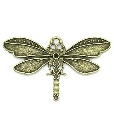 Dragonfly Charm/Pendant Tibetan Steampunk Antique Bronze 43mm  5 Charms Crafts