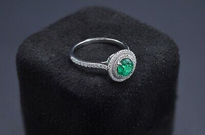 2599a5446 Tiffany & Co. Authentic Soleste Platinum Green Emerald and Diamond Ring ...