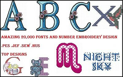 20,000 Fonts & Numbers Machine Embroidery Pattern Designs HUS PES JEF SEW