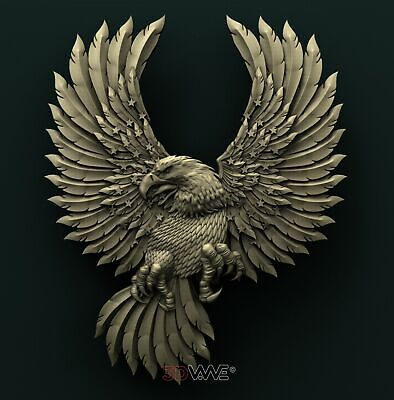 3d STL Model Relief for CNC Router _ American Eagle _0614