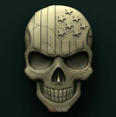 3d STL Model Relief for CNC Router _ American Skull _0035
