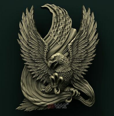 3d STL Model Relief for CNC Router _ American Eagle _0036
