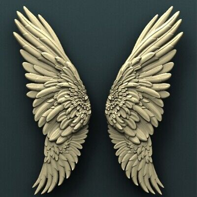3d STL Model Relief for CNC Router _ Angel Wings _0039