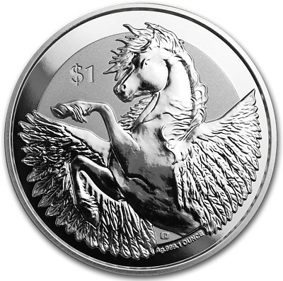 1 oz .999 Pure Fine Solid Silver 2019/Coin Real Currency Pegasus Reverse Frosted