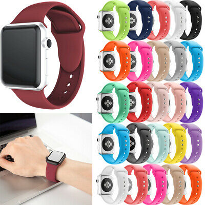 For Apple Watch Series 4/3/2/1 38/42 Sport Replacement Silicone Wrist Band Strap
