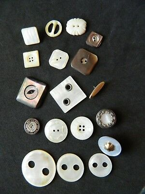 Lot SHAPES of Pearls MOP Shell Buttons Antique Vtg CARVED in Metal ++