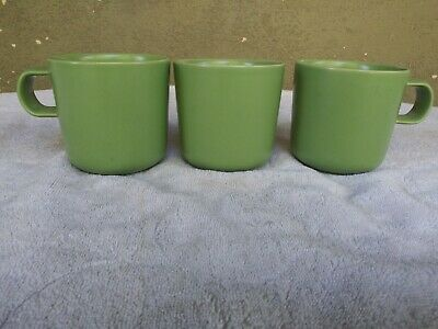 "Hoganas Keramik Nilsson Green Coffee Mugs Sweden 10 oz 3 3/8"" Set of 3"