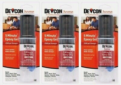 3 Devcon 21045 5 Minute Epoxy Gel .84 oz. High Strength Adhesive Multi Use CREAM