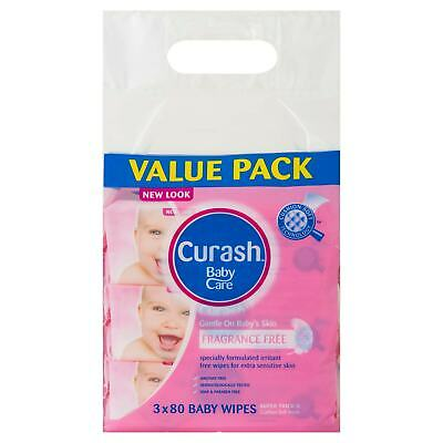 Curash Babycare Fragrance Free Baby Wipes 80 X 3