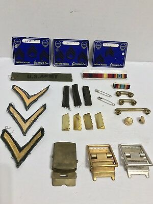 Vintage Lot of US Army Uniform Insignia, Pins, Patches, Badges, Belt Buckles,Etc