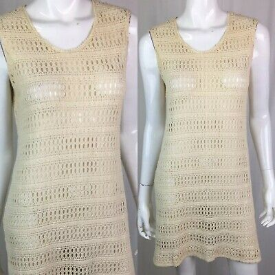 Vintage 1970s Aldens Womens Cream Crochet Lace Knit Sheer Tunic Tank Dress Small