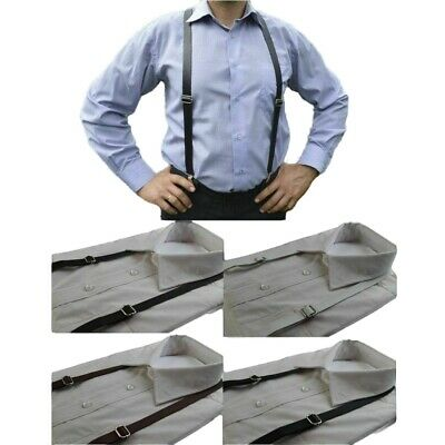 MENS FAUX LEATHER THIN THICK SUSPENDERS Braces Adjustable Black Dark Brown White