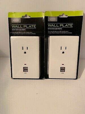 (2) WALL PLATE:1 OUTLET & 2 USB PORTS, WHITE 2.1 Amp USB Ports R4