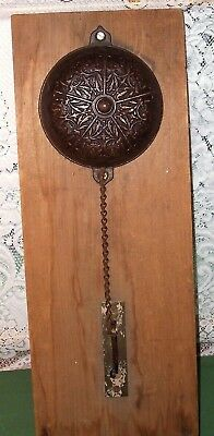Antique 1874 Victorian Bronze Hand Pull Chain Door Bell, Mechanism, Wall Section